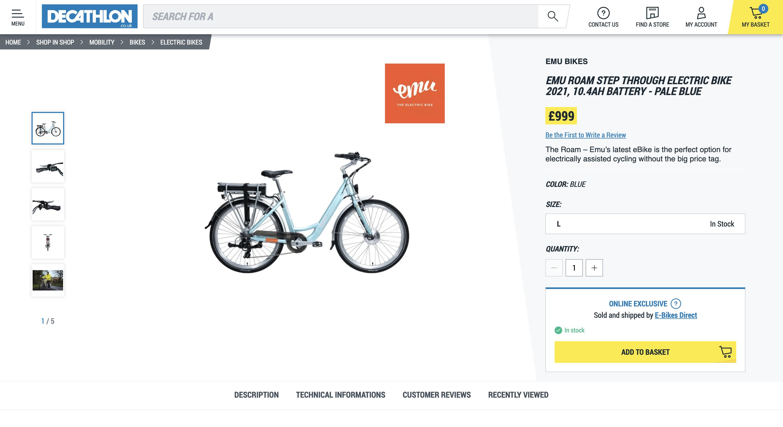 Decathlon marketplace screen shot
