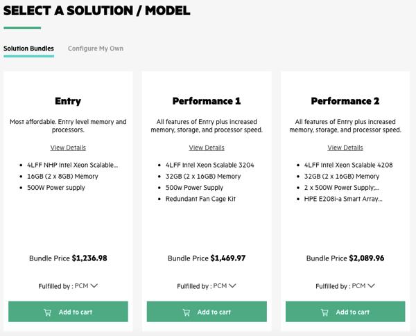 HPE marketplace bundled option