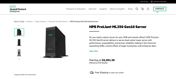 HPE marketplace listing