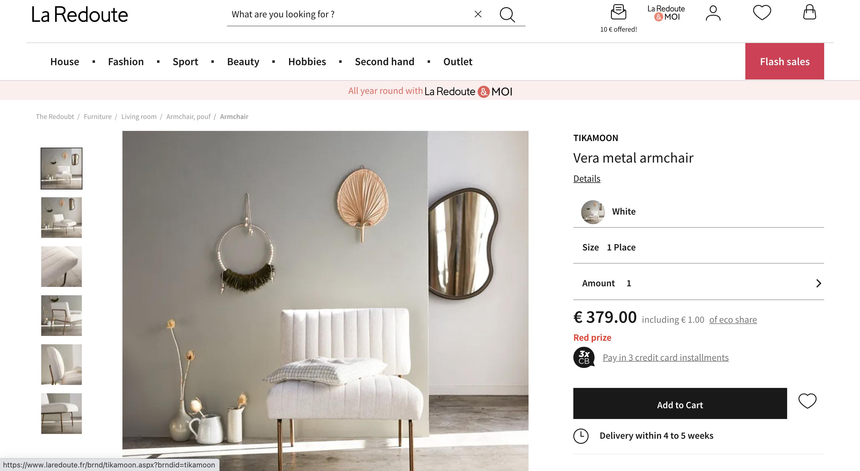 La Redoute marketplace screen shot